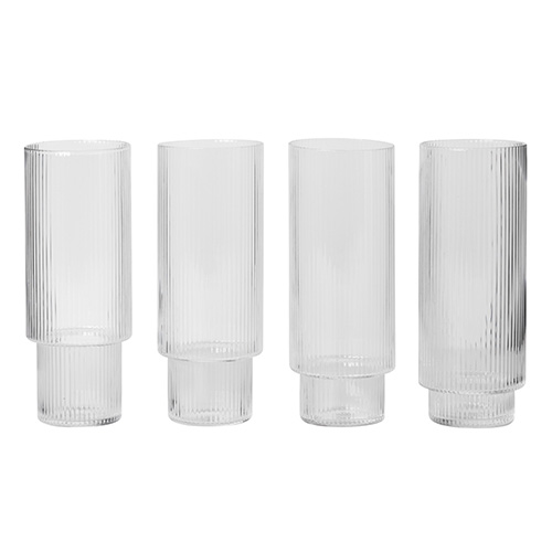 Ripple Long Drink Glasses Set of 4