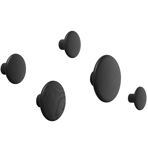 Dots Wood Set of 5 Black