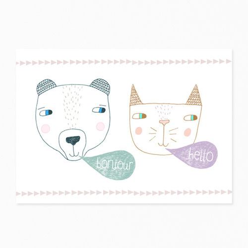 Bear & Cat Postcard