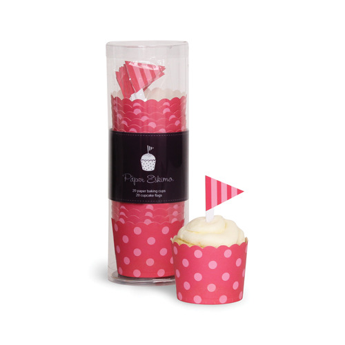Baking Cup with Toppers Berry Pink Spots