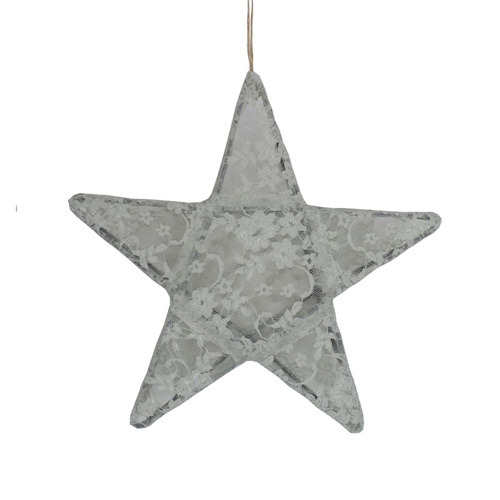 Star Lantern Silver Grey Lace Small (50% sale)