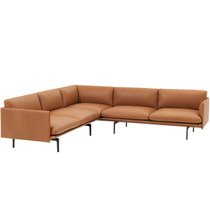 Outline Sofa Corner/Black Base Refine Leather Cognac  전화문의