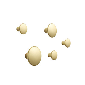 The Dots Metal Coat Hooks Set of 5 Brass