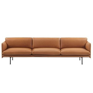 Outline Sofa 3 1/2-Seater/Black Base Refine Leather Cognac
