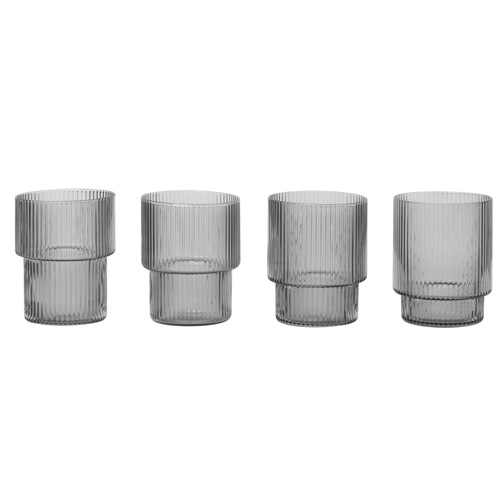 Ripple Glass Set of 4 Smoked Grey  주문후 3개월 소요