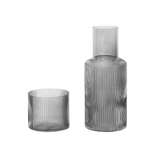 Ripple Carafe Set Small Smoked Grey  주문후 3개월 소요