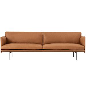 Outline Sofa 3-Seater  Refine Leather Cognac/Black Base