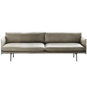 Outline Sofa 3-Seater  Refine Leather Stone/Black Base