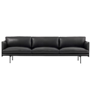 Outline Sofa 3 1/2-Seater/Black Base Refine Leather Black