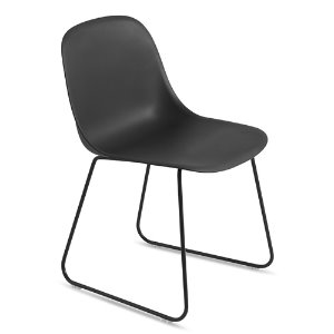 Fiber Side Chair Sled Base Black/Black