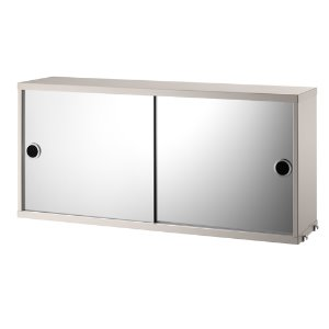 Cabinet With Mirror Doors Beige