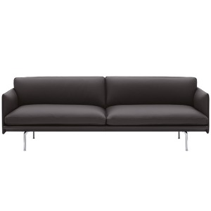 Outline Sofa 3-Seater/Polished Aluminum Base Easy Leather Root  10월 중순 입고