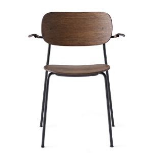 Co Chair With Armrest Black Steel Base/Dark Stained Oak 현 재고
