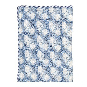 Reversible Quilted Bed Cover Blue Kalam 150x220cm