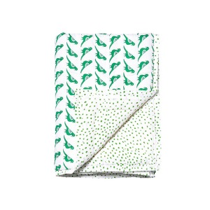 Reversible Quilted Bed Cover Green Birds 115x140cm