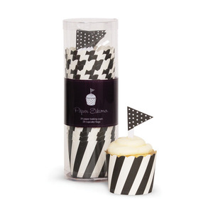 Baking Cup Toppers Black Candy Stripes