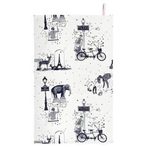 Tea towel Toile de Jouy Grey - 30% sale