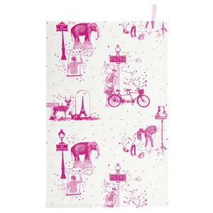 Tea towel Toile de Jouy pink - 30% sale
