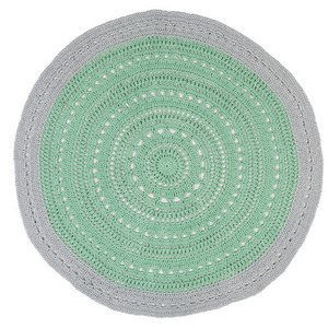 Mint and Metallic Silver Doily rug