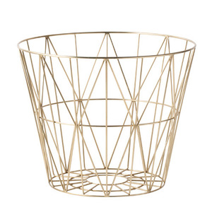 Wire Basket Brass Medium