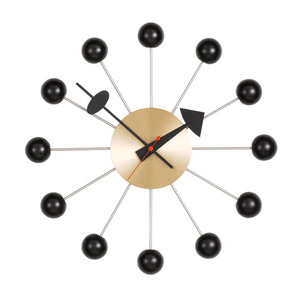 Ball Clock Black/Brass