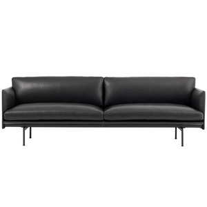 Outline Sofa 3-Seater/Black Base Refine Leather Black