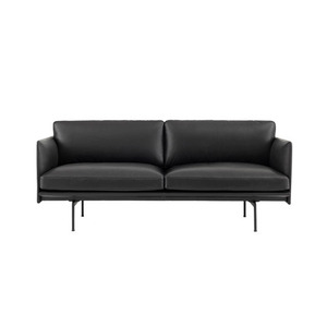 Outline Sofa 2-Seater  Refine Leather Black/Black Base