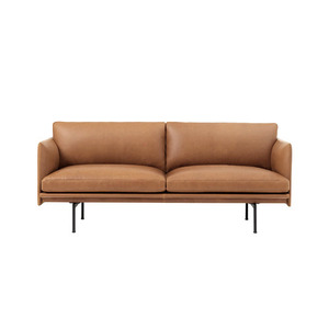 Outline Sofa 2-Seater/Black Base Refine Leather Cognac