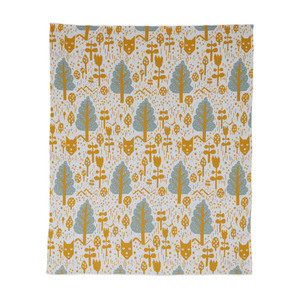Fox in the Woods Cotton Mini Blanket Mustard