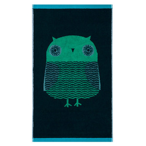 Owl Bath Towel Green