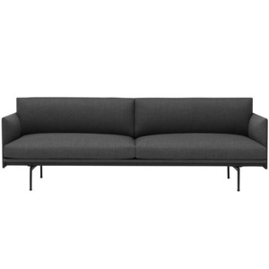 Outline Sofa 3-Seater/Black Base Textile