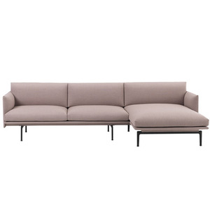 Outline Sofa Chaise Longue/Black Base Textile