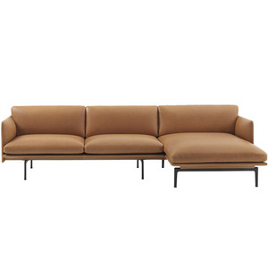Outline Sofa Chaise Longue/Black Base Refine Leather
