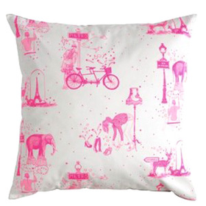Cushion toile de Jouy neon pink  (30% sale)