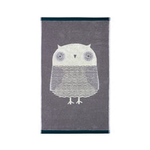 Owl Hand Towel Grey