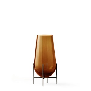 Échasse Vase Small Amber Glass/Bronzed Brass
