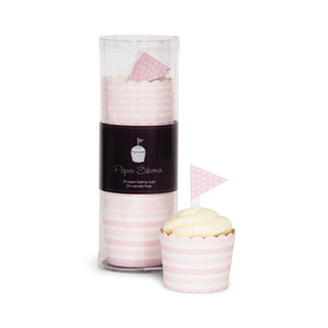 Baking Cup Toppers Pink Blush Stripes